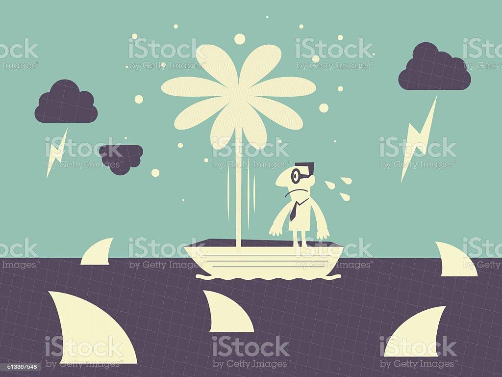 Businessman on leaking boat, surrounded by shark, thunder and lightening vector art illustration