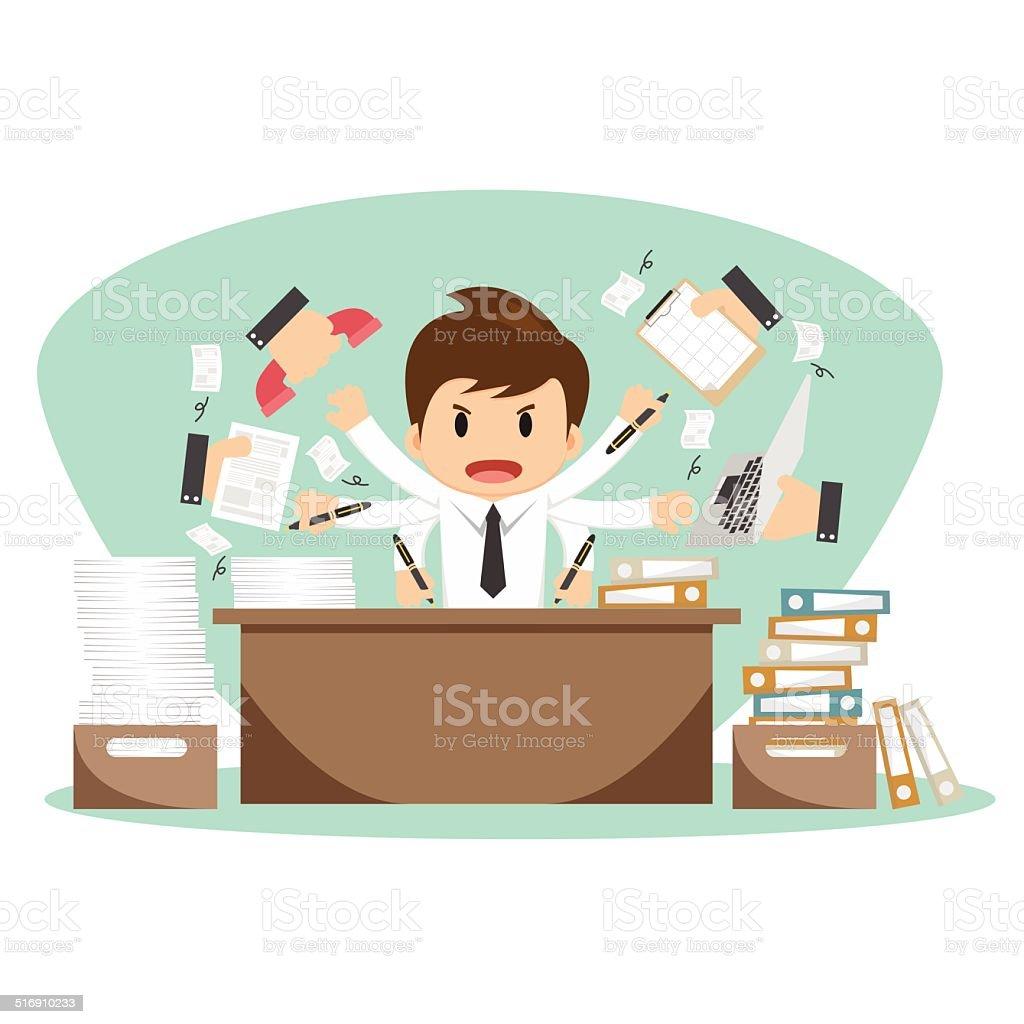 Businessman on office worker vector illustration vector art illustration