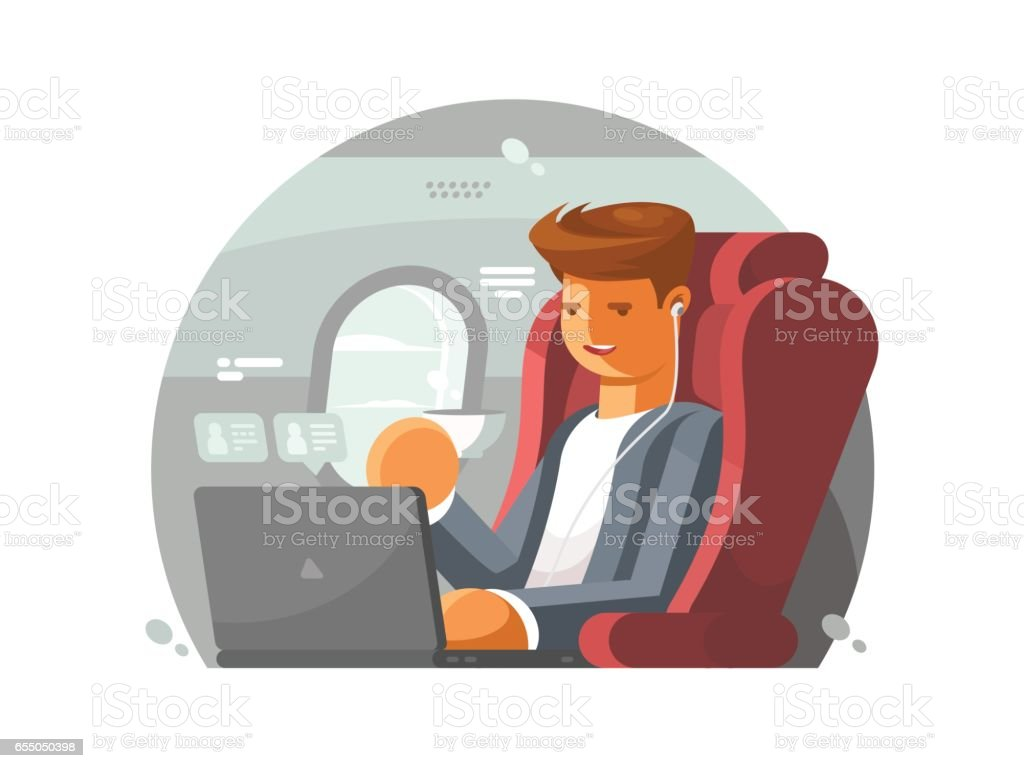 Businessman on plane vector art illustration