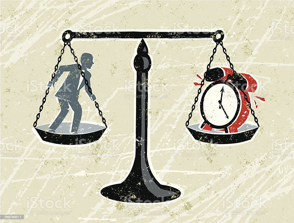 Businessman on Scales with a Clock royalty-free stock vector art