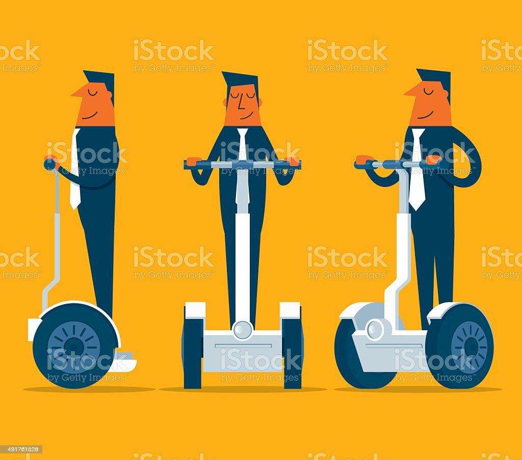 Businessman on segway vector art illustration