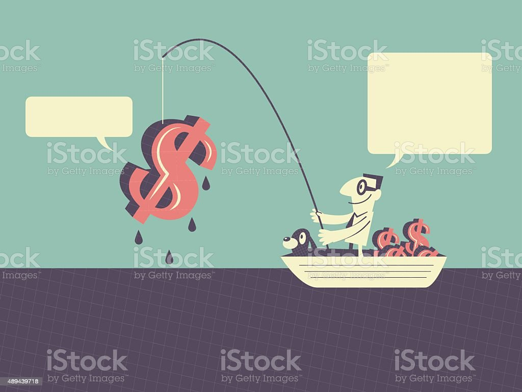 Businessman on ship fishing money (Dollar Sign, Currency Symbol) vector art illustration