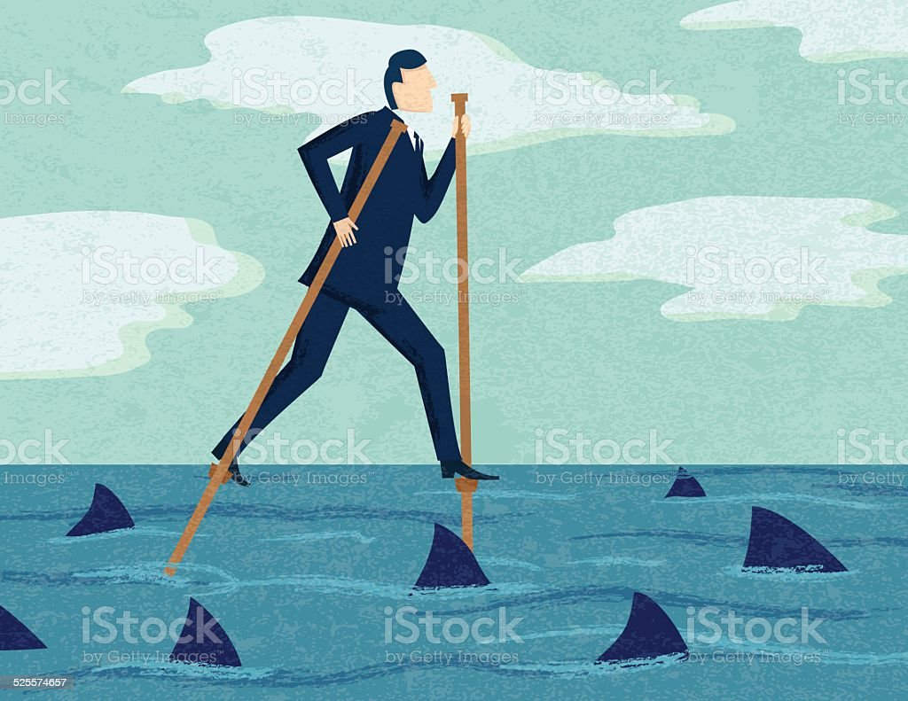 Businessman On Stilts With Sharks: Risky Business Concept vector art illustration