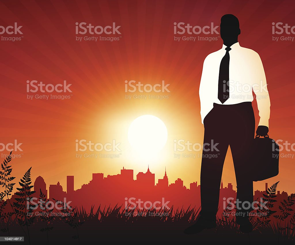 Businessman on sunset background with skyline royalty-free stock vector art