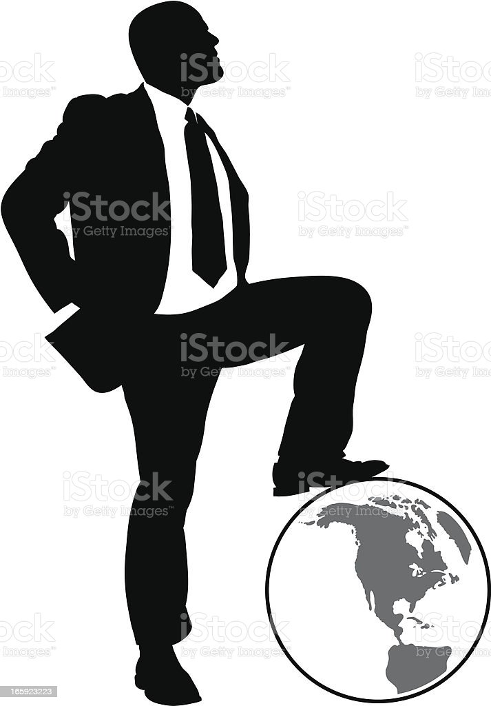 Businessman on the World vector art illustration