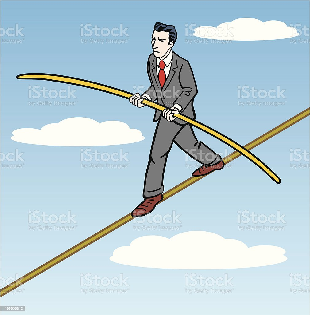 Businessman on Tightrope royalty-free stock vector art