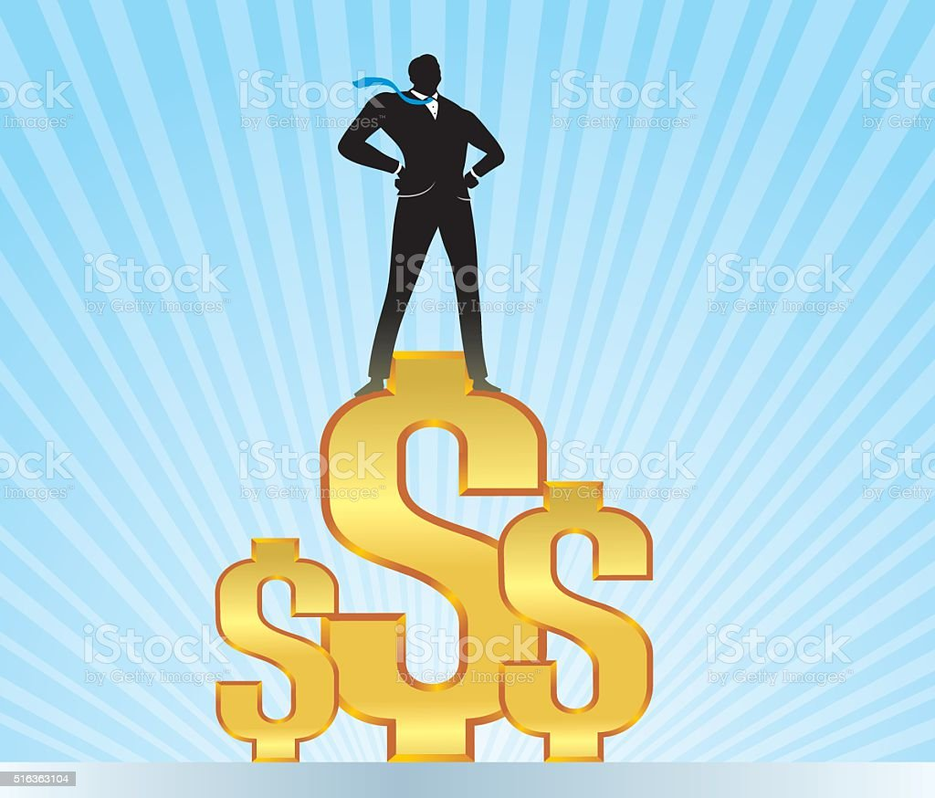 Businessman on Top of Currency Symbol vector art illustration