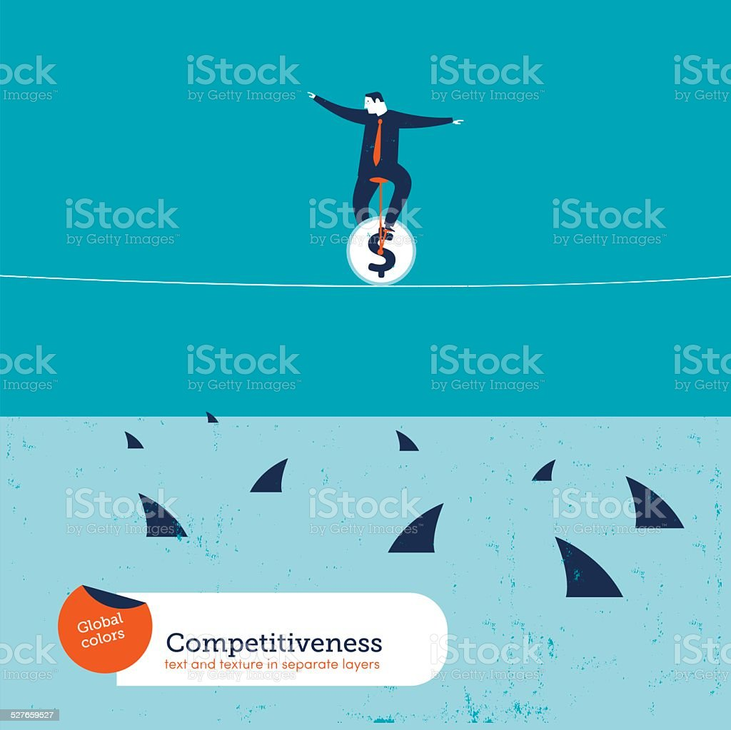 Businessman on unicycle on a tightrope with sharks vector art illustration