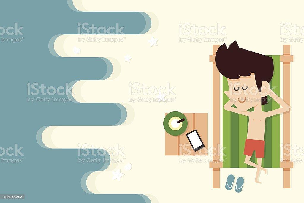 businessman on vacation vector art illustration