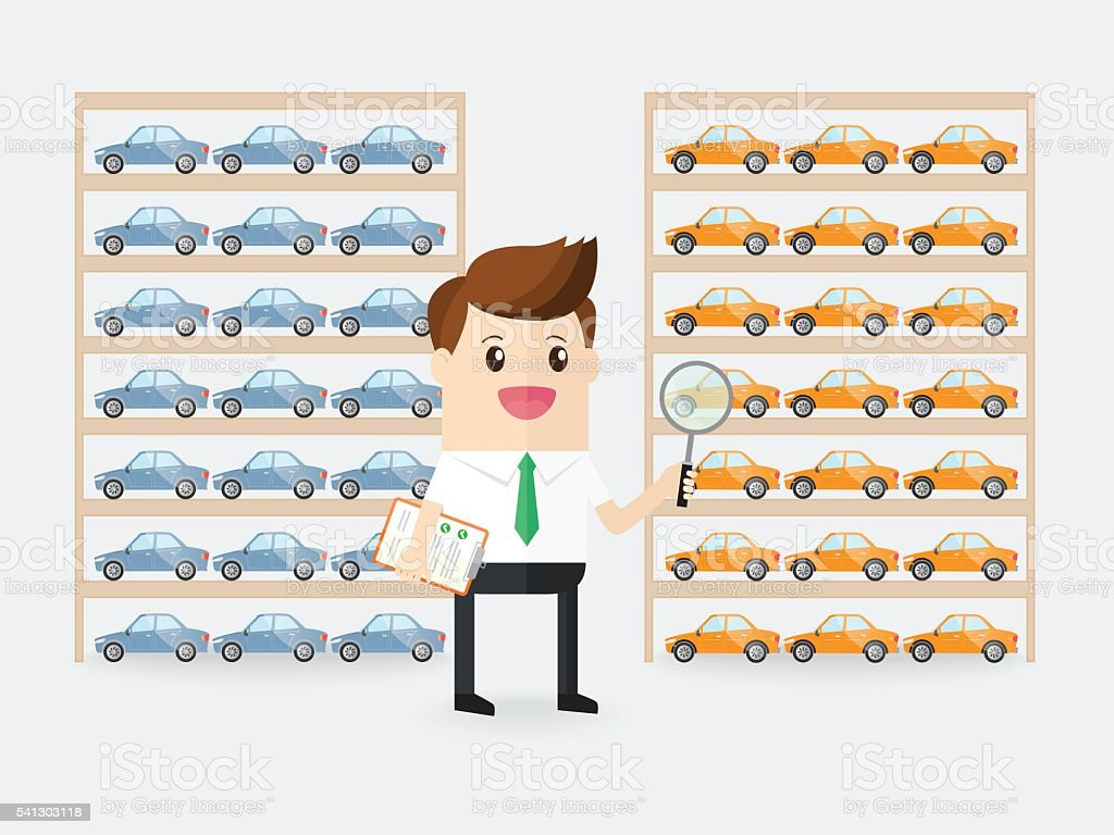businessman or inspector detecting quality of cars products in factory vector art illustration