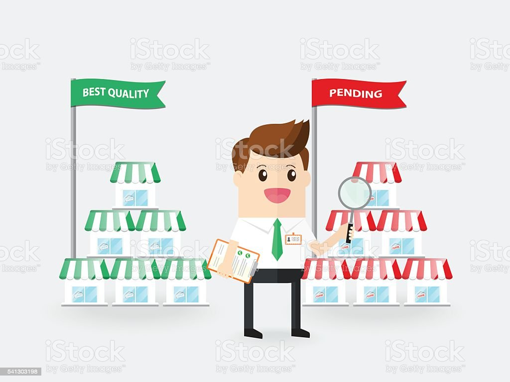 businessman or inspector detecting quality of franchise business vector art illustration