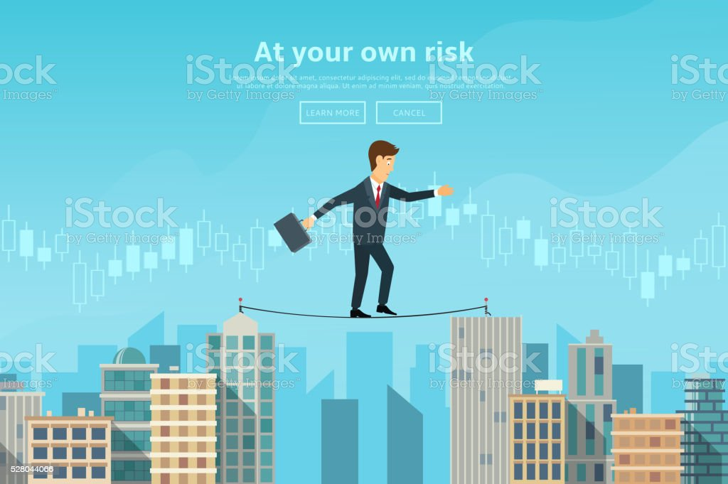 Businessman or man in crisis situation balancing on rope royalty-free stock vector art