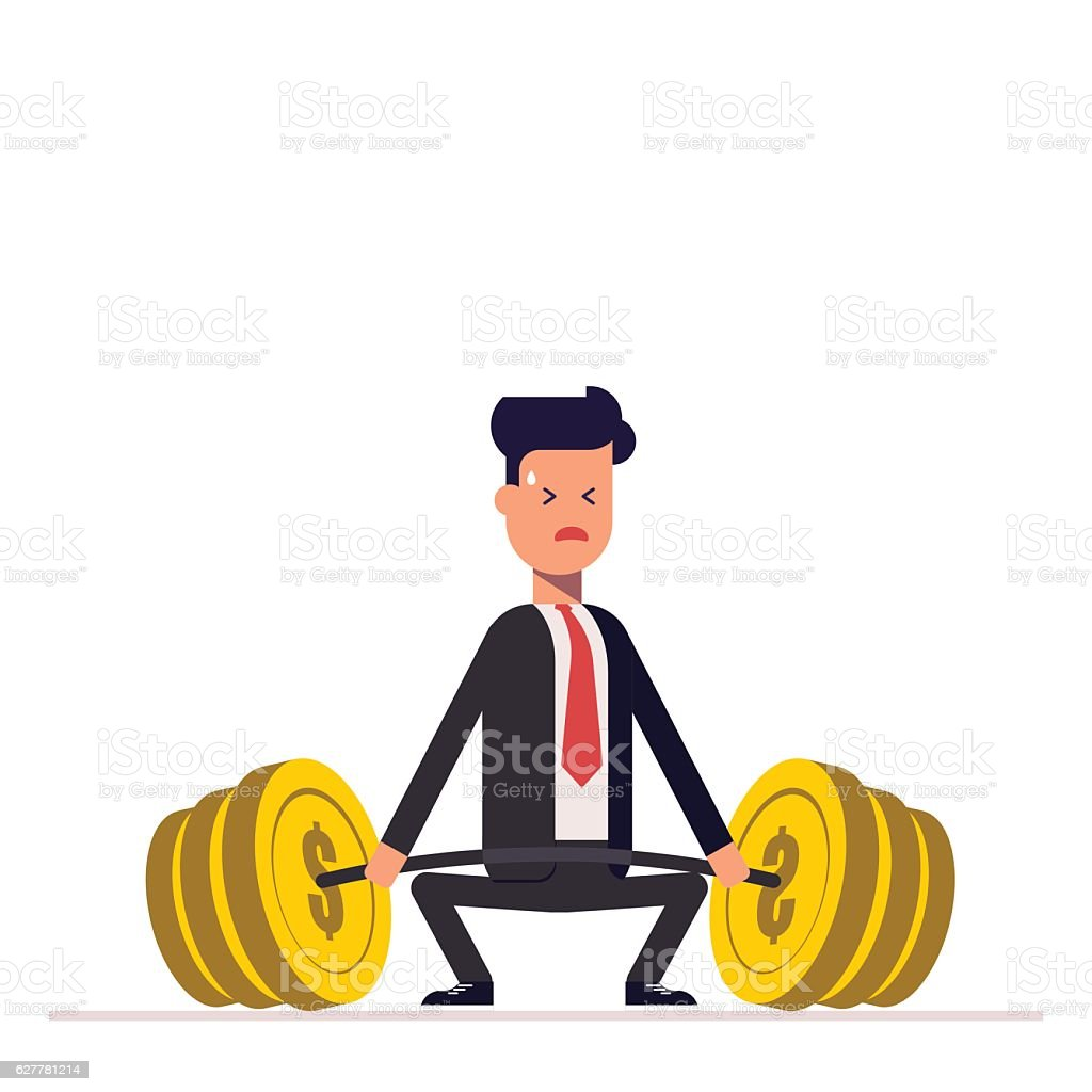 Businessman or manager can not lift a heavy barbell with vector art illustration