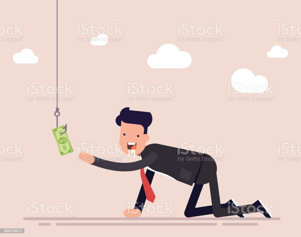 Businessman or manager creeps for money. A man ready for anything for the sake of money. A trap for a person, money on a hook. Vector illustration isolated on color background. vector art illustration