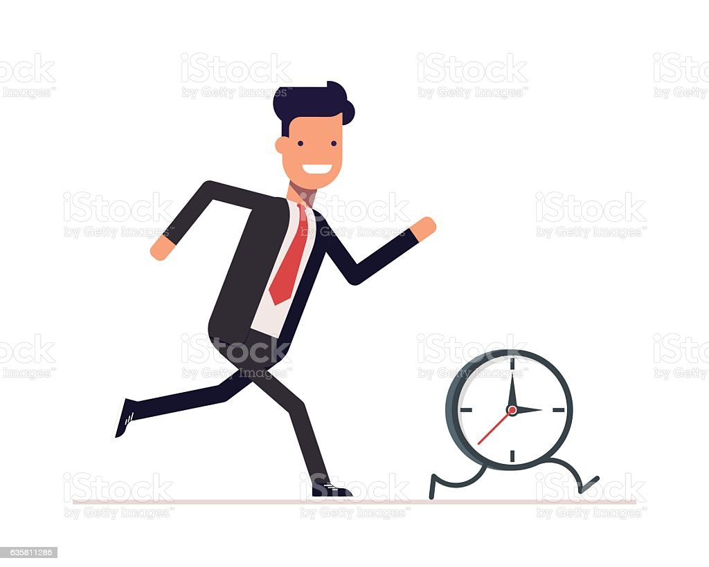 Businessman or manager runs the clock. Man does not keep vector art illustration