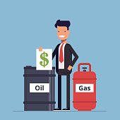 Businessman or manager sells a barrel of oil and gas