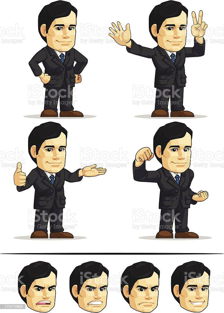 Businessman or Office Executive Customizable Mascot royalty-free stock vector art