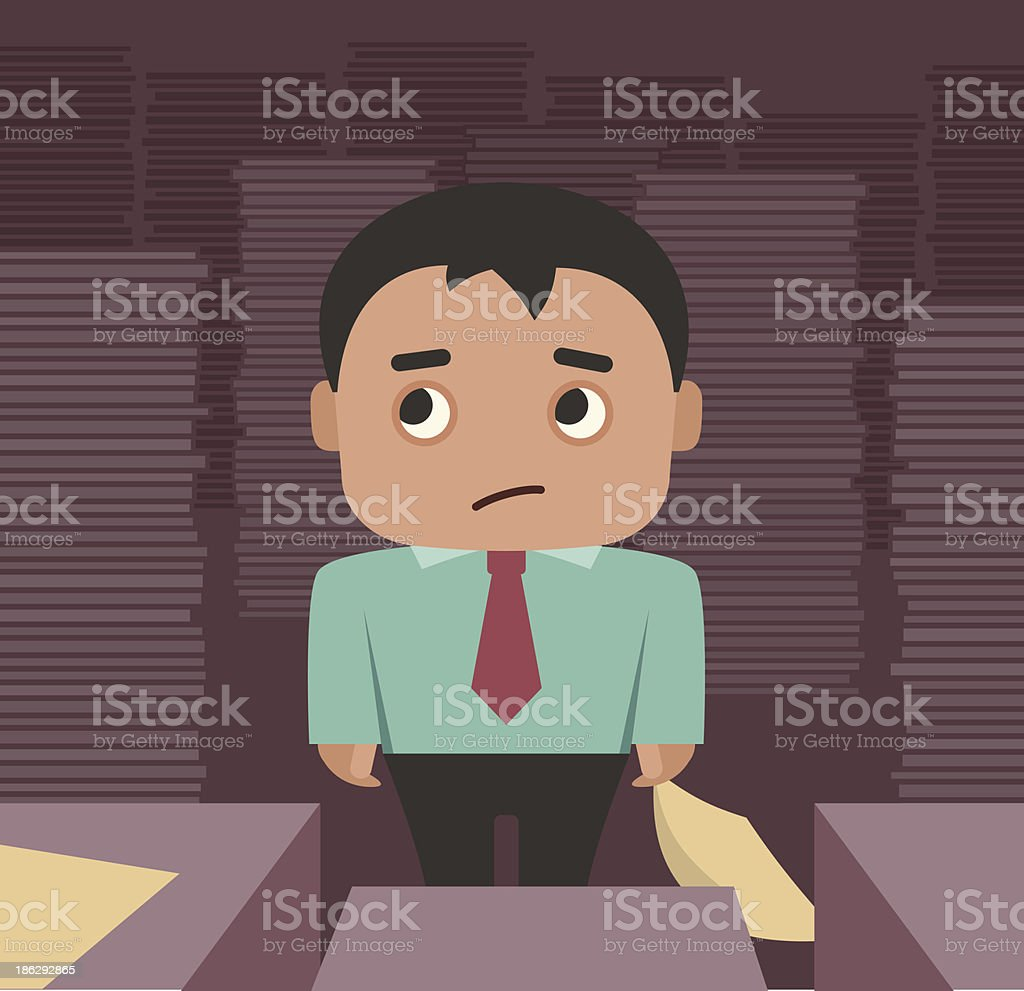 Businessman overhelmed by paperwork royalty-free stock vector art