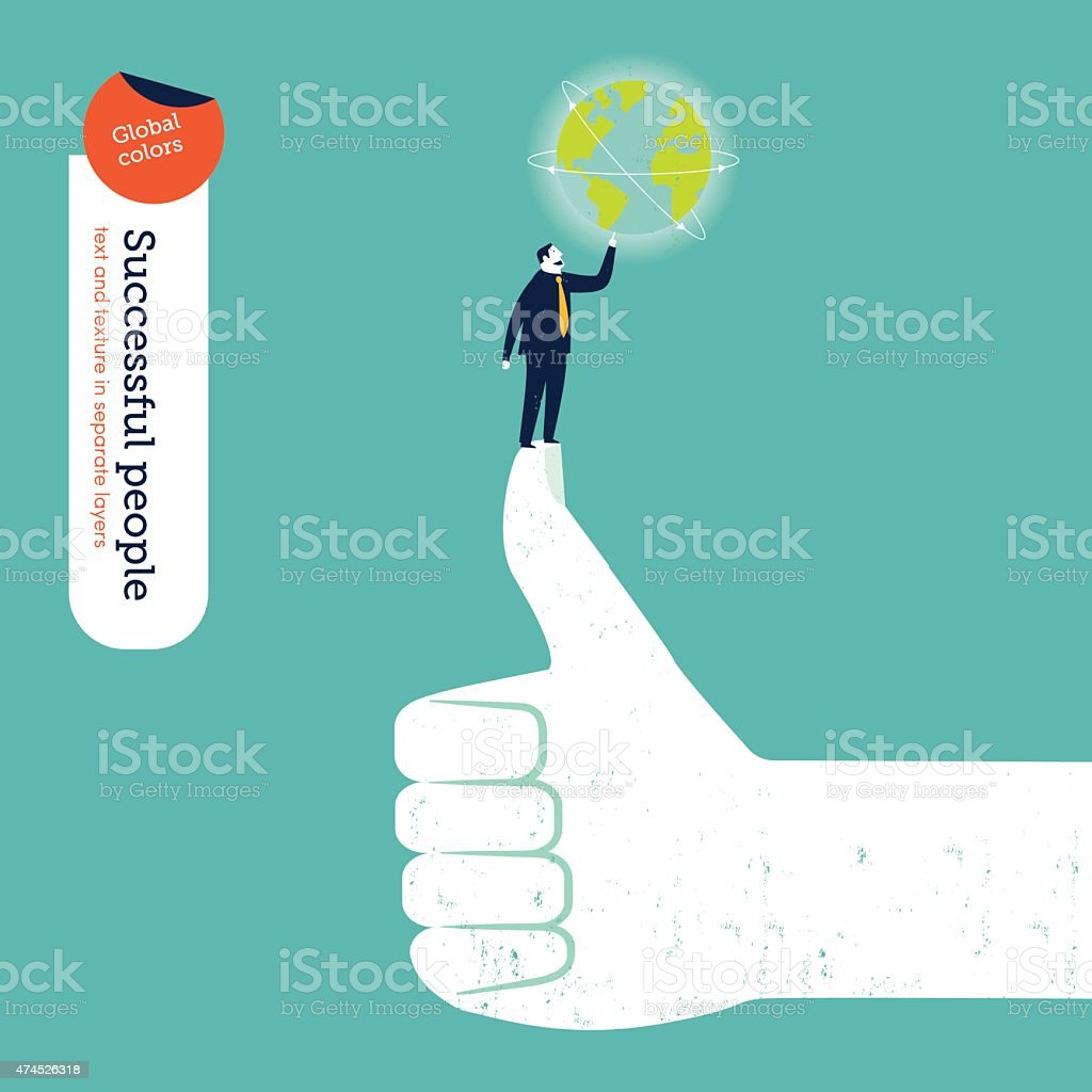 Businessman owning the world on an I like hand vector art illustration