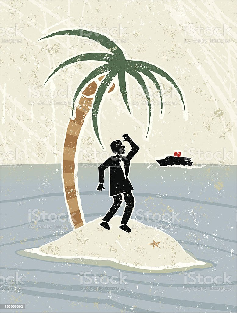 Businessman, Palm Tree on Desert Island, with a Boat Approaching vector art illustration