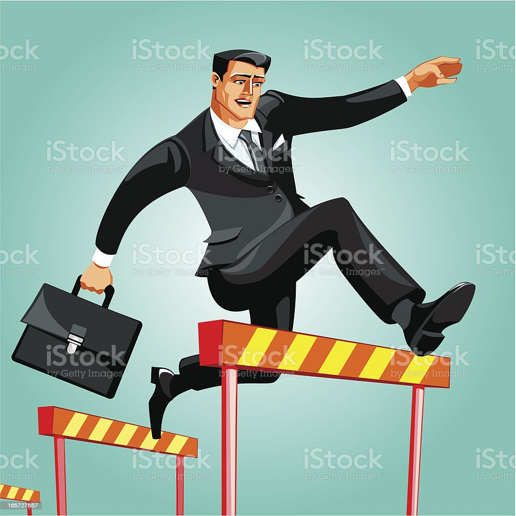 businessman passing over obstacles royalty-free stock vector art