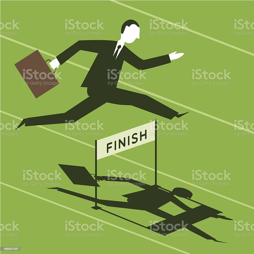 Businessman passing over obstacles vector art illustration