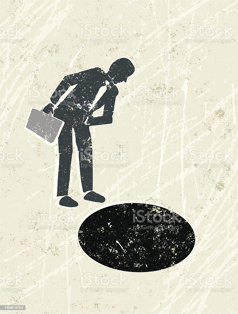 Businessman peering down a hole royalty-free stock vector art