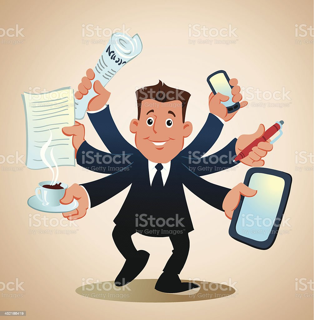 Businessman Performing Many Tasks vector art illustration