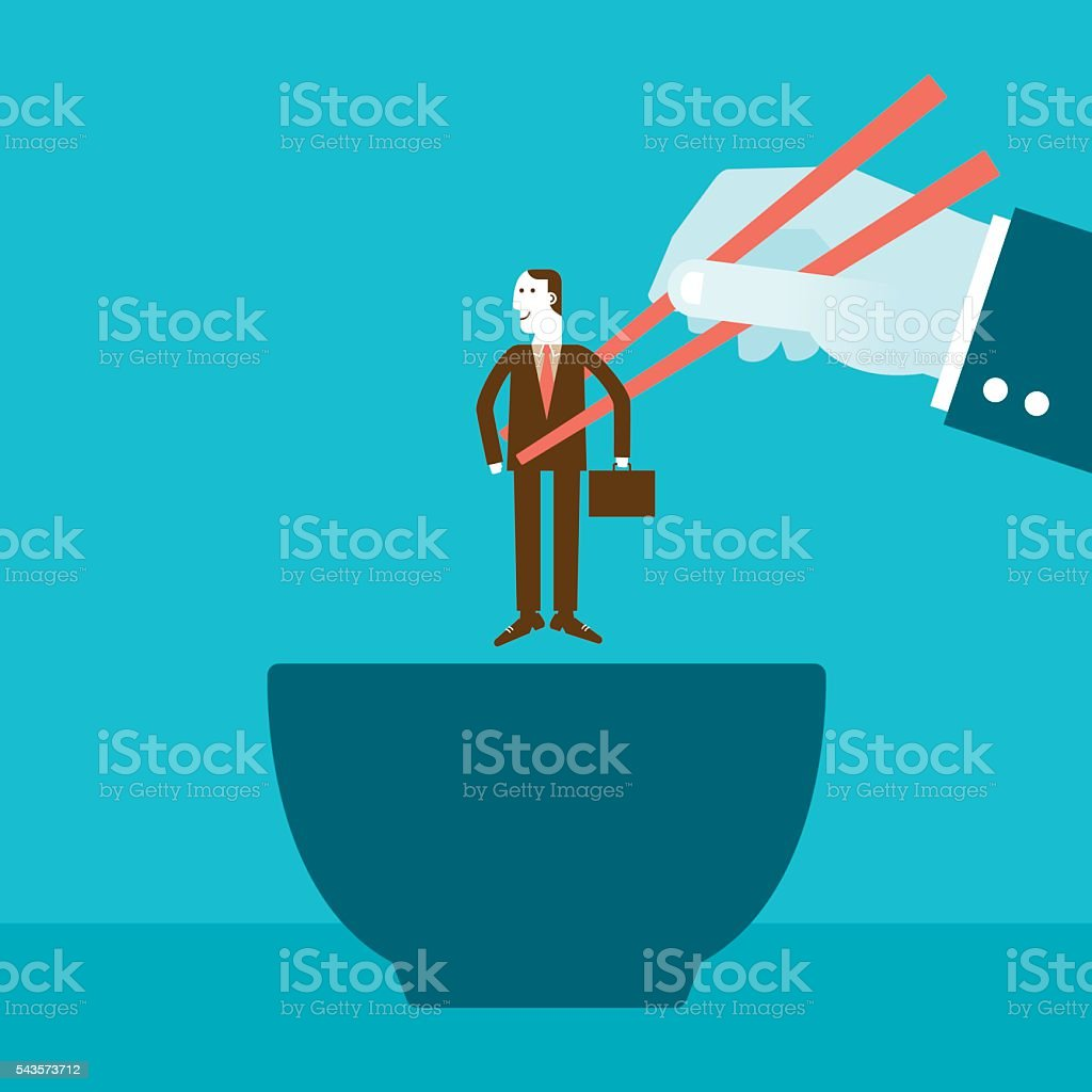 Businessman Picked Up by Giant with Chopsticks over Bowl vector art illustration