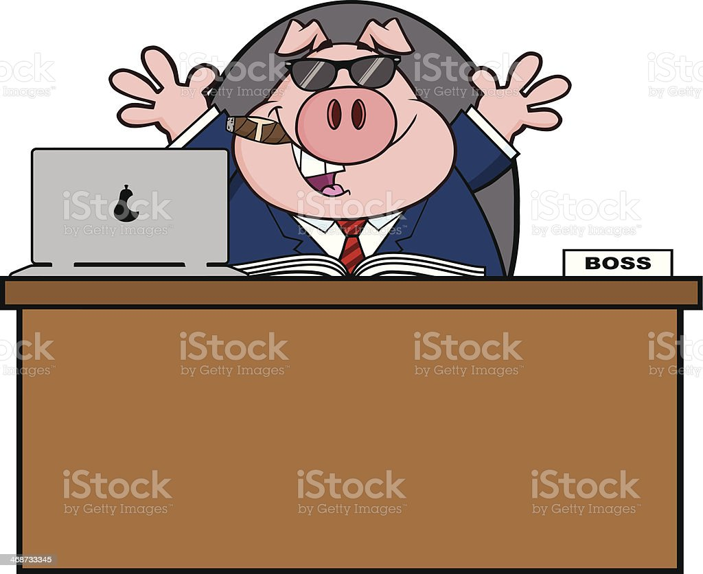 Businessman Pig Behind A Desk With Sunglasses royalty-free stock vector art