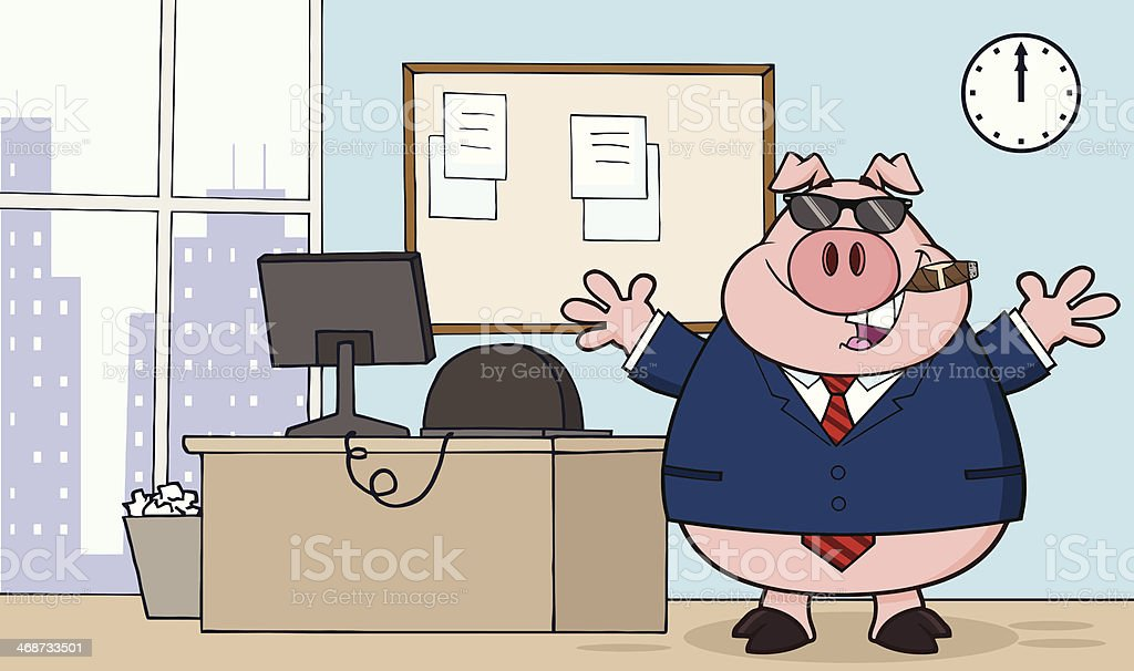 Businessman Pig in Office With Sunglasses royalty-free stock vector art