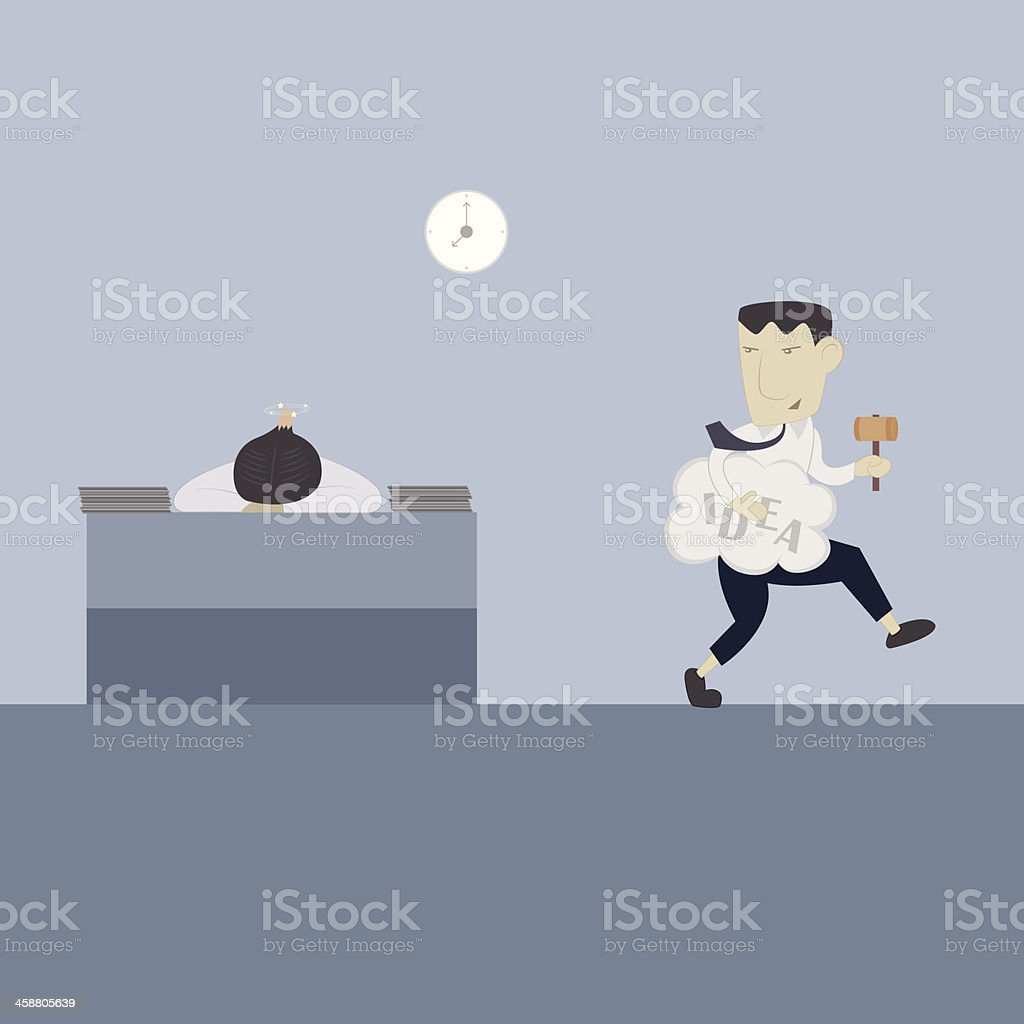 Businessman plagiarize others vector art illustration
