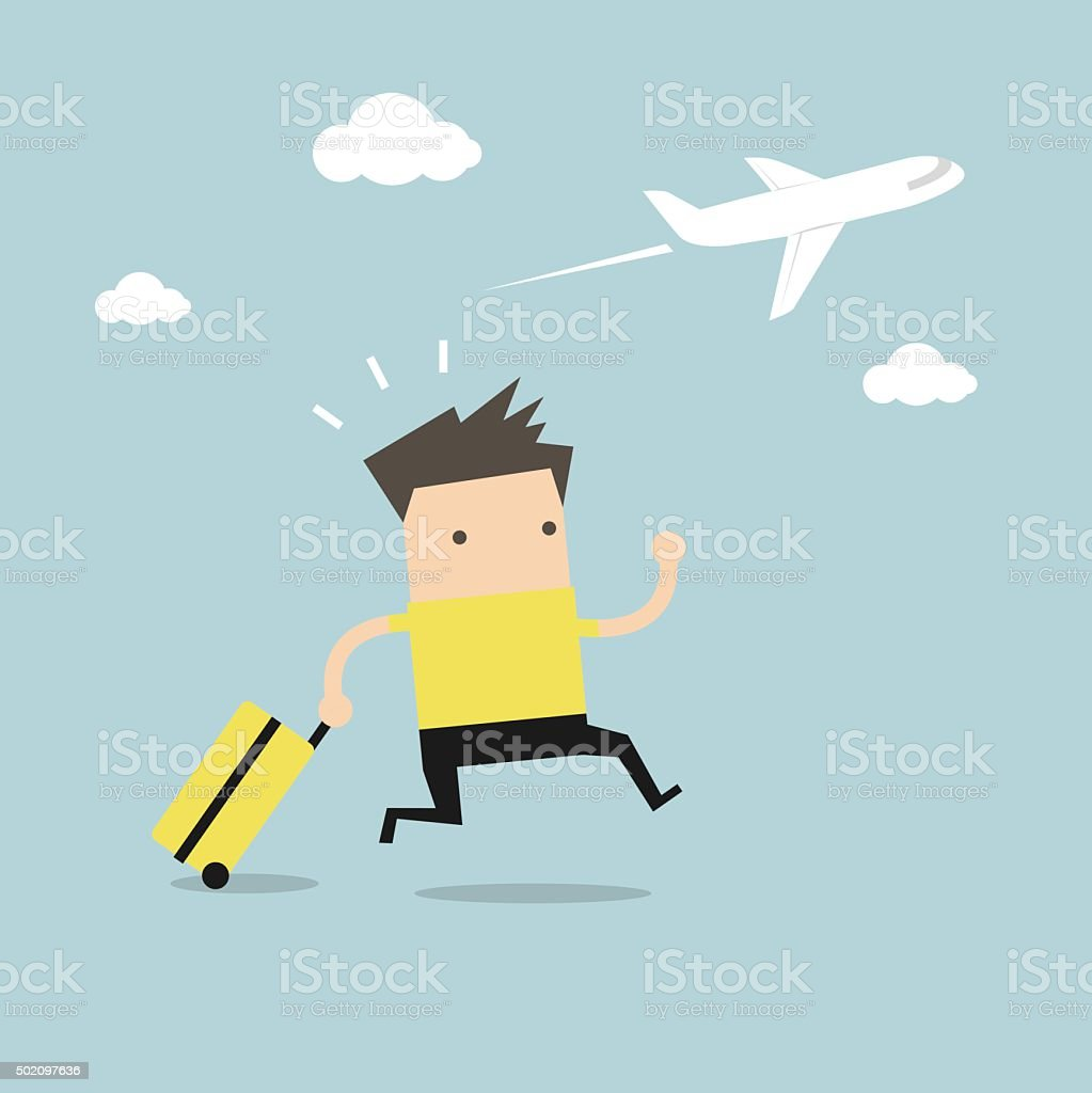 Businessman plane missing the airplane vector art illustration