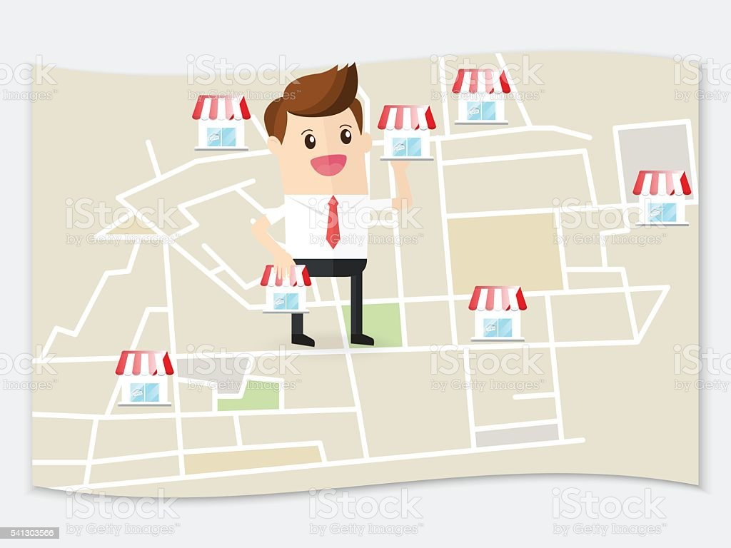 businessman planning expansion franchise business in urban map vector art illustration