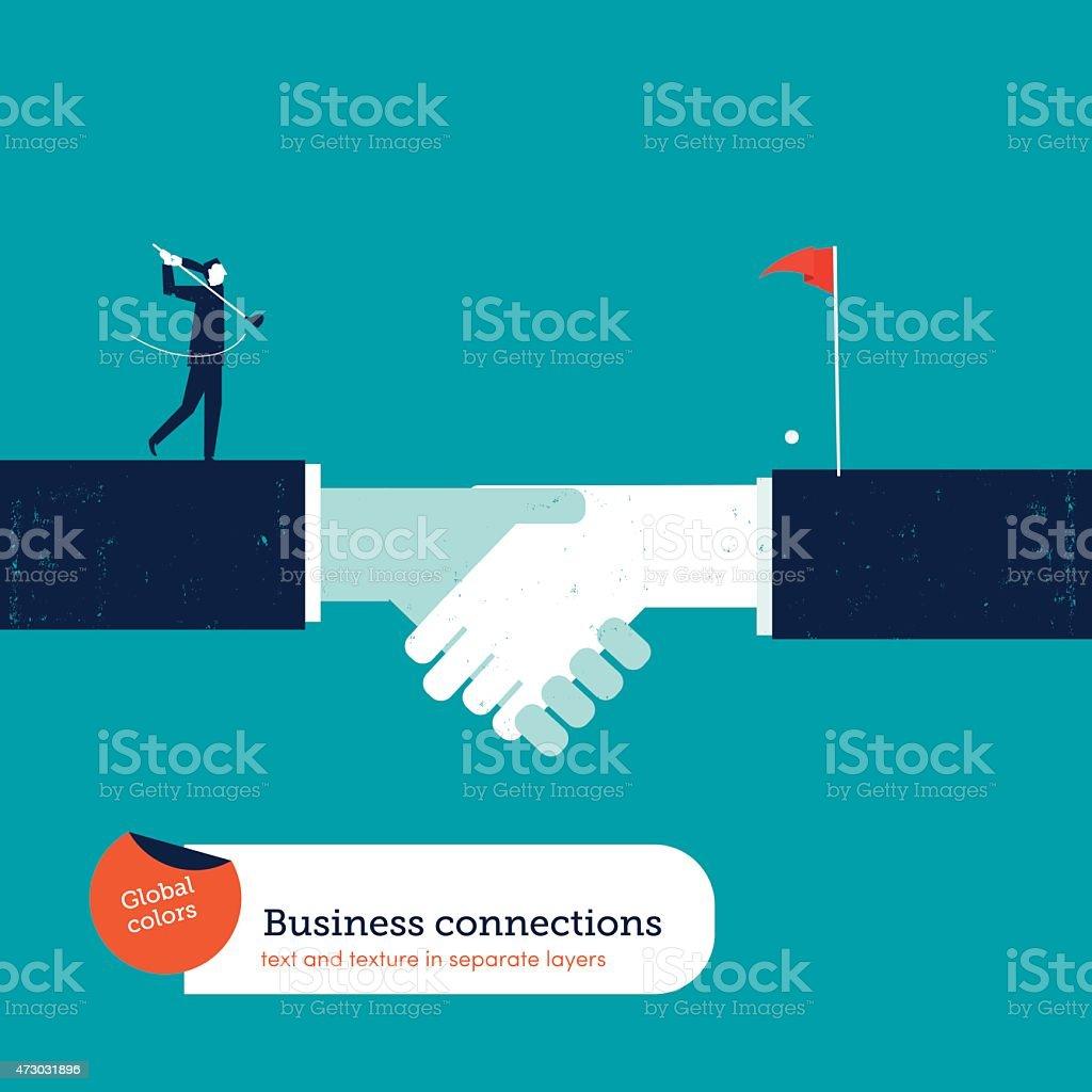 Businessman playing golf on a handshake vector art illustration
