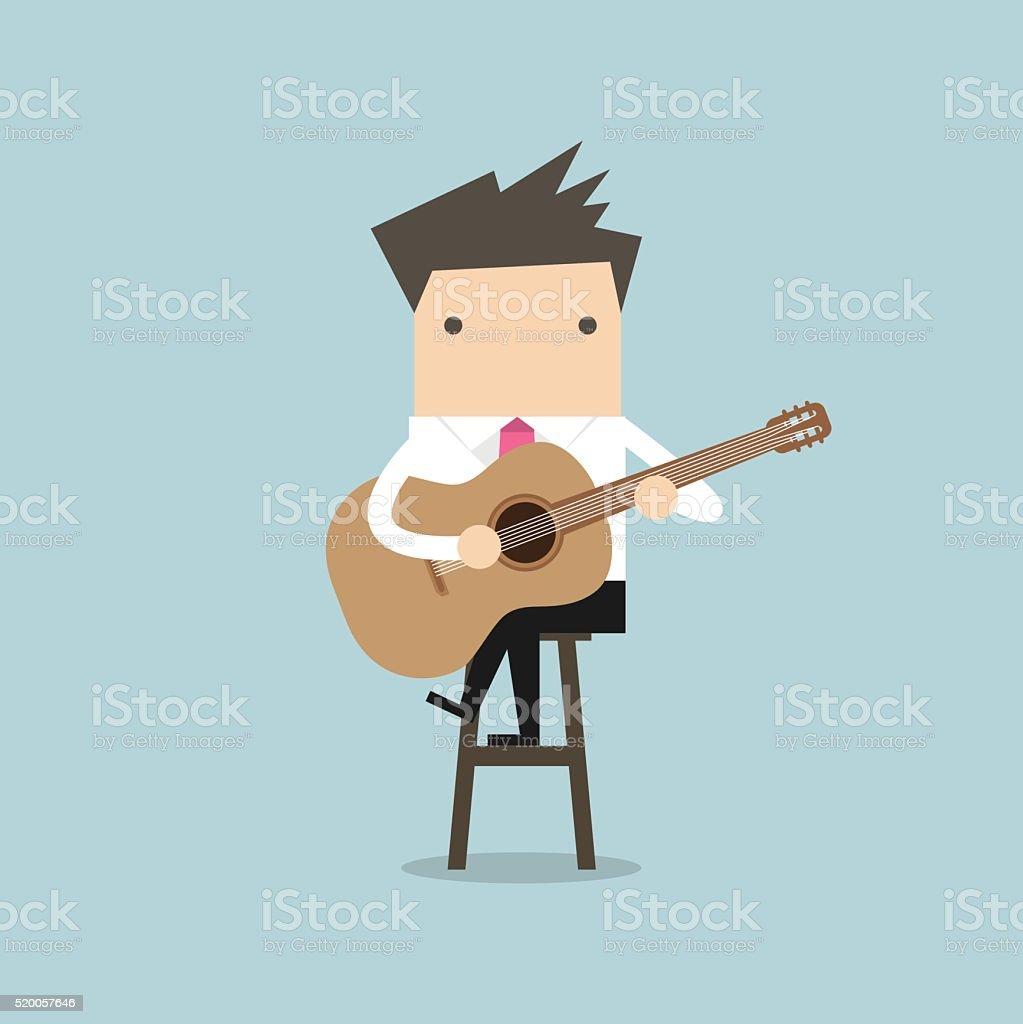 Businessman playing guitar vector vector art illustration