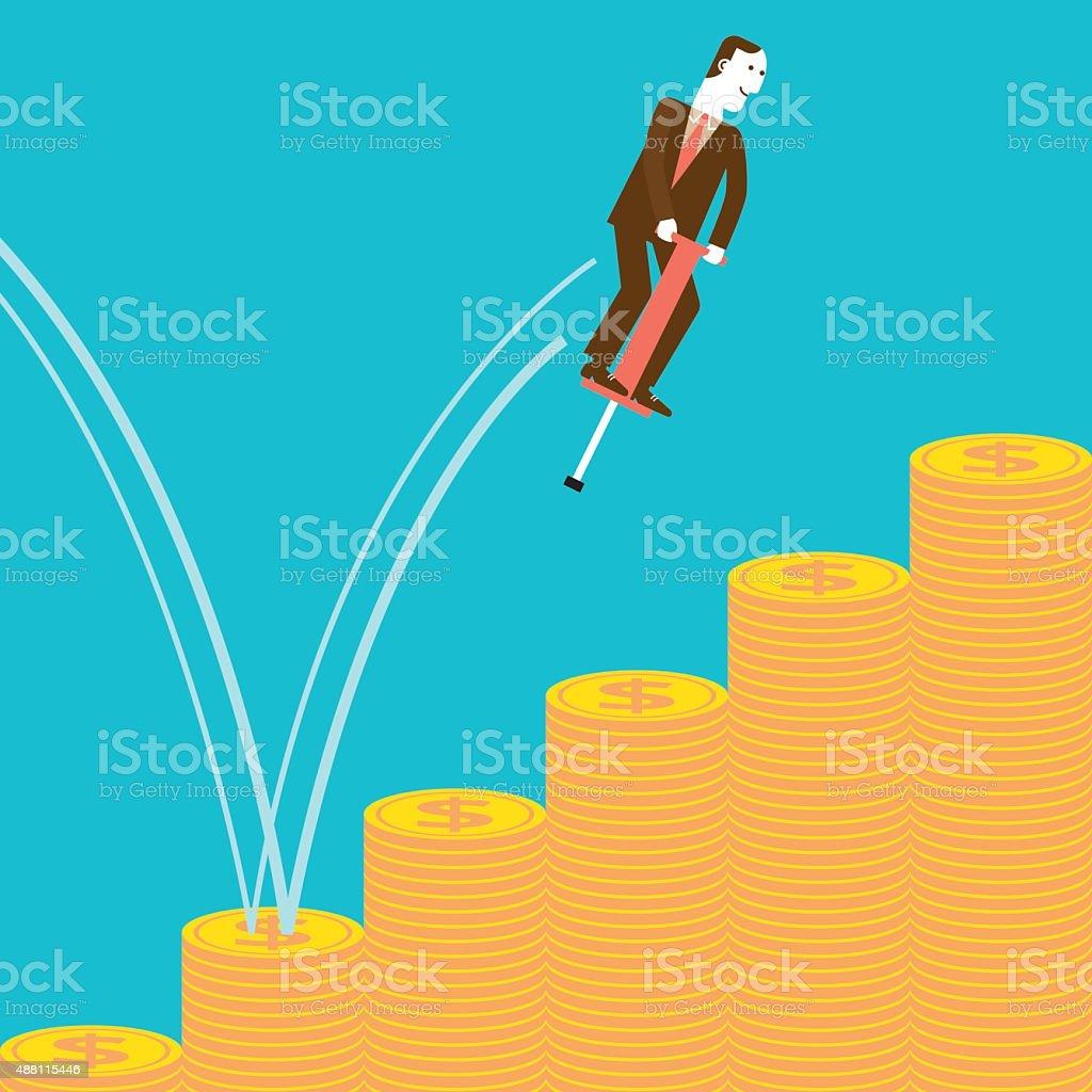 Businessman Pogostick Jumping on Coins | New Business Concept vector art illustration