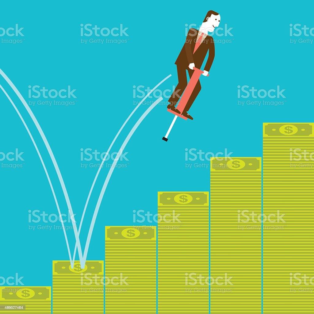 Businessman Pogostick Jumping on Stacks of Banknotes   New Biz vector art illustration