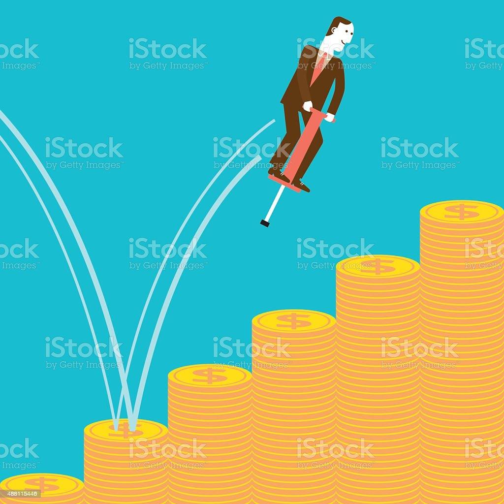 Businessman Pogostick Jumping on Stacks of Coins   New Biz vector art illustration
