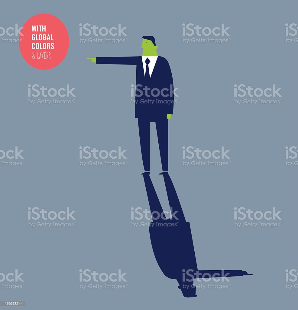 Businessman pointing a direction and his shadow pointing another one vector art illustration