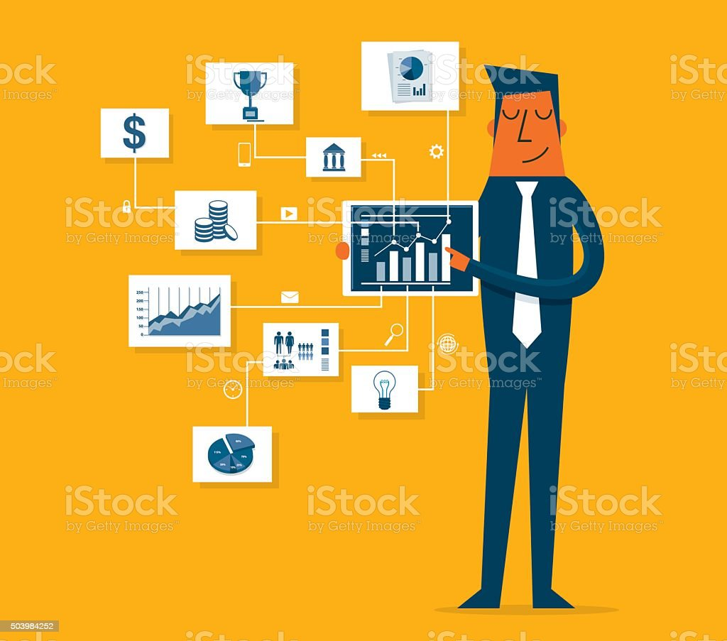 Businessman pointing at chart and presentation vector art illustration