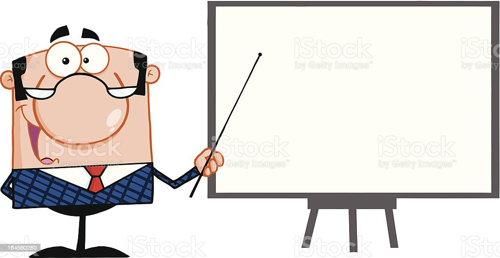 Businessman Pointing to a Blank Board royalty-free stock vector art