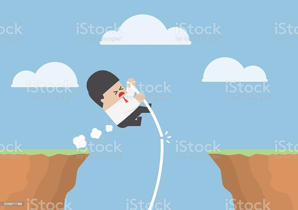 Businessman pole vault across the cliff but he fail vector art illustration