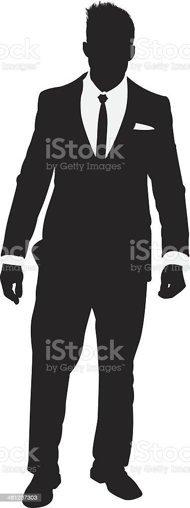 Businessman posing vector art illustration