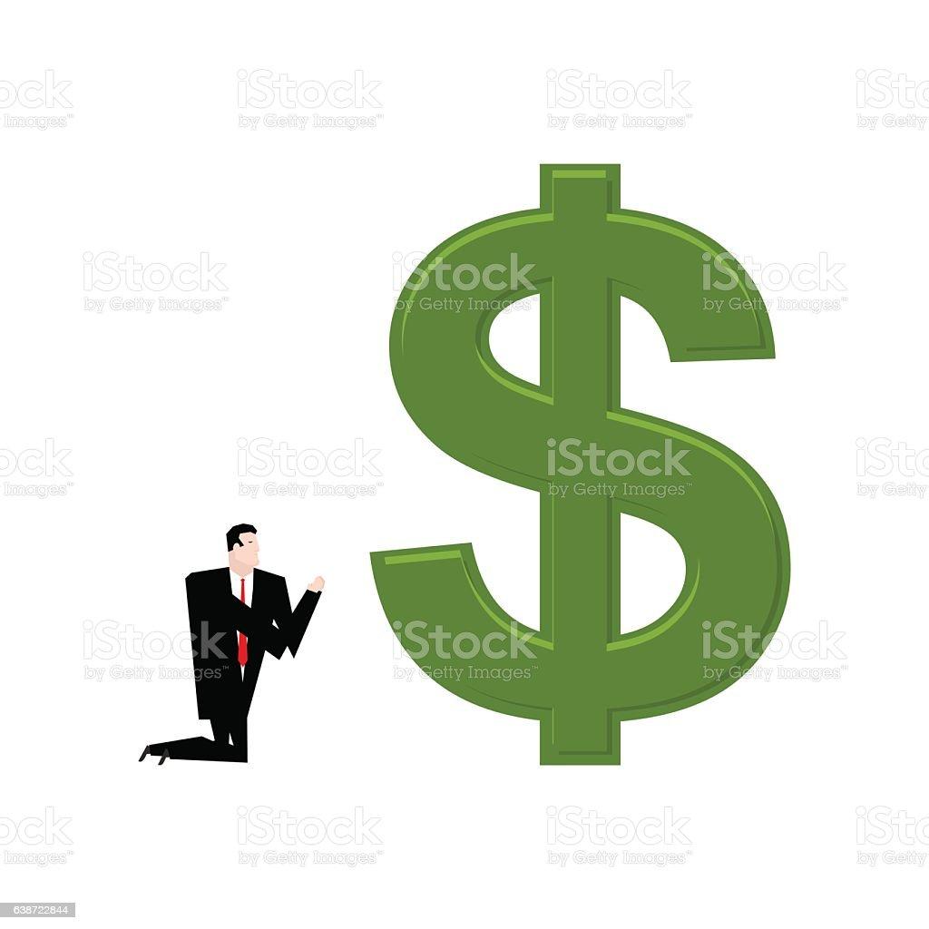 Businessman praying to dollar. Prayer cash. Pray profit vector art illustration
