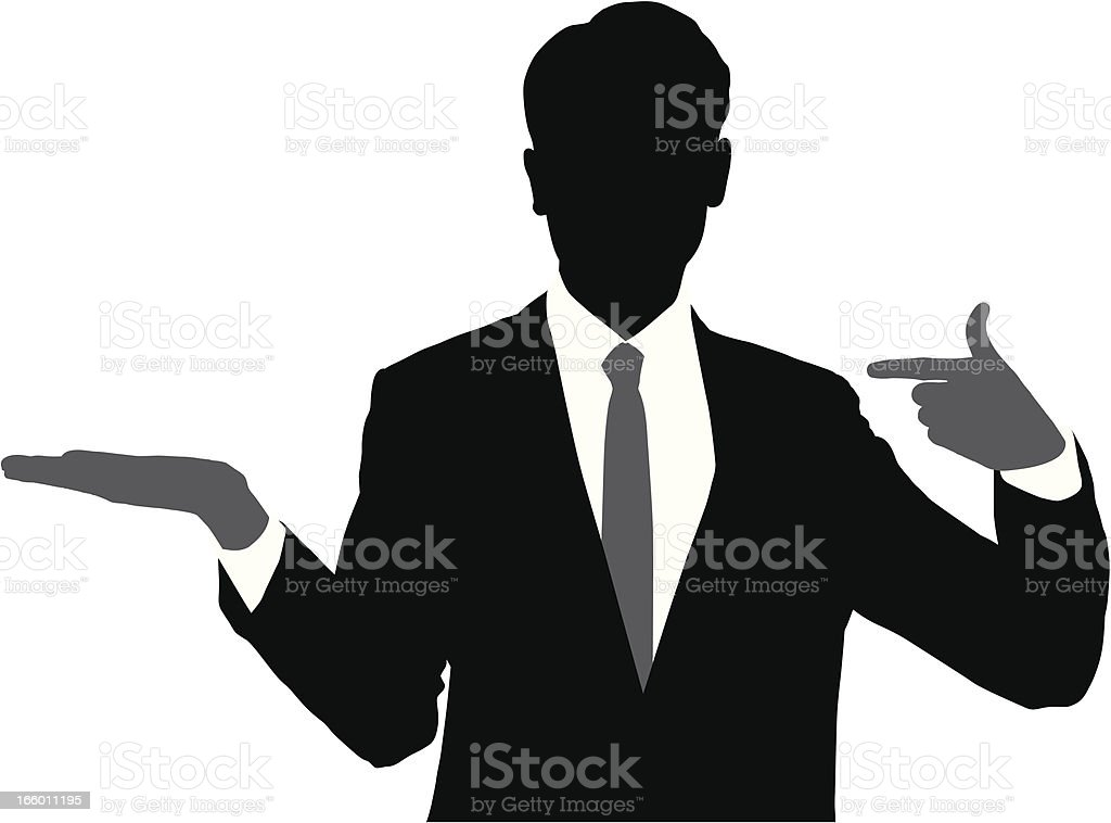 Businessman Presenting and Pointing Silhouette royalty-free stock vector art