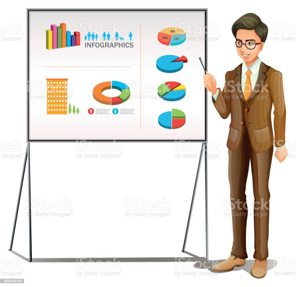 Businessman presenting graphs on the board vector art illustration