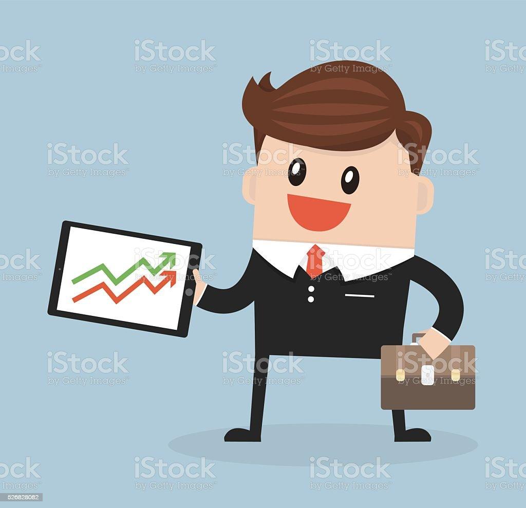 businessman Presenting Growth flat design vector. vector art illustration