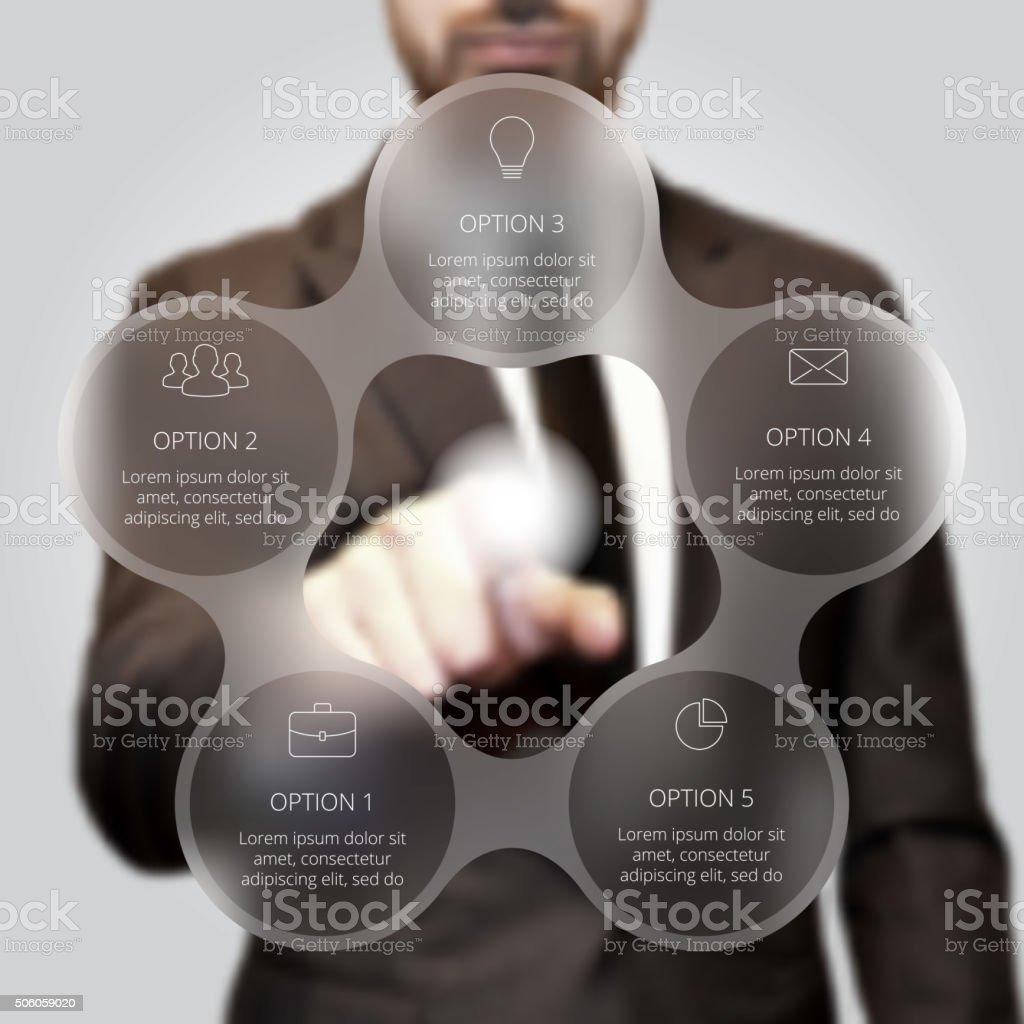 Businessman pressing button. vector art illustration