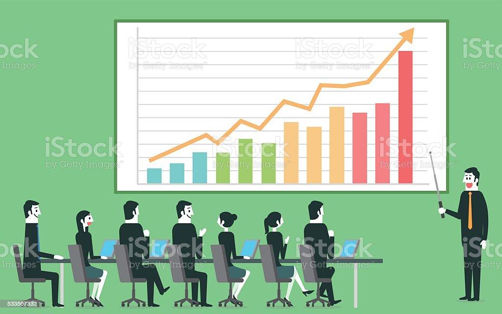 Businessman profit gain presentation vector art illustration